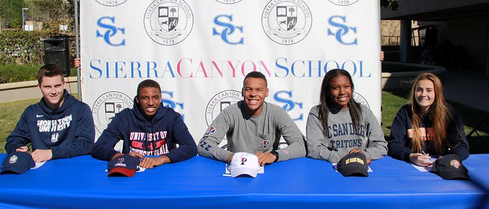 The 5 Sierra Canyon Athletes who signed on Feb. 3 on National Signing Day. (from Left to Right: Christian Hernandez (Georgetown), Eric Markes (Penn), Kohl Hollinquest (Penn), Bailey Hoboson (UCSD), and Peyton Shaffer (Fresno Pacific)