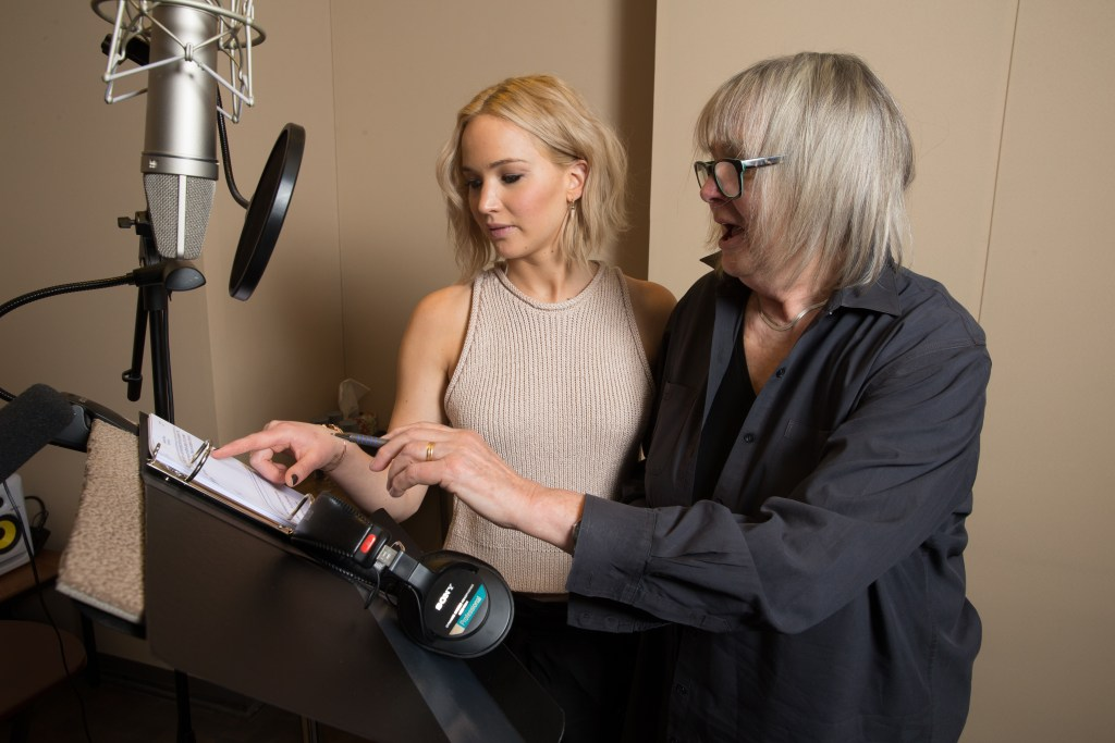 Narrator Jennifer Lawrence and Writer/Director Toni Myers run through the script for A Beautiful Planet while preparing to record the film's narration. © 2016 IMAX Corporation.