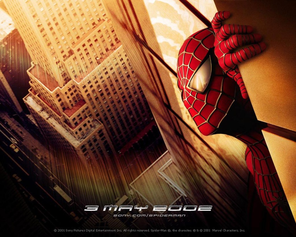 The Twin Towers are reflected in Spidey's eyes in an up-close look.
