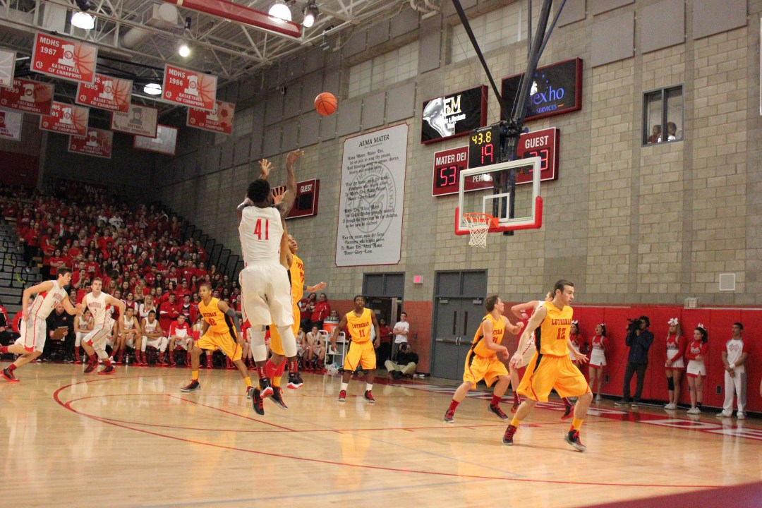 Stanley shoots a fadeaway jumper during his junior season at Mater Dei.