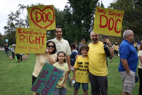 Families show their support for the renewal of the District of Choice program (Nick Burt/OPHS Talon).