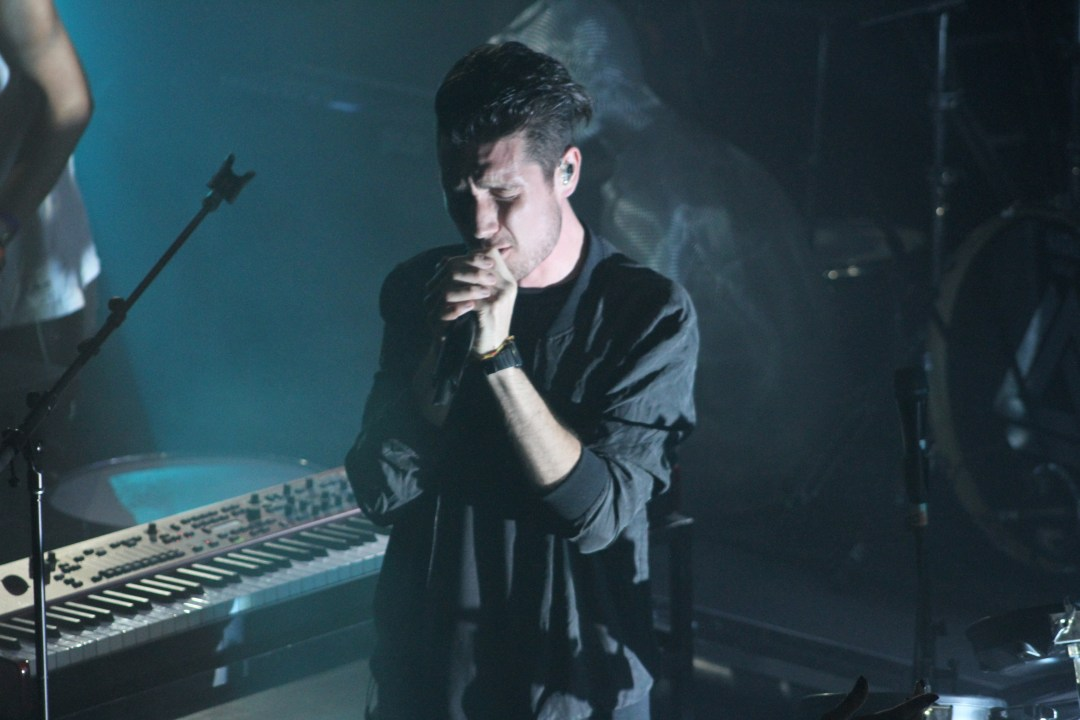 Lead singer from Bastille, Dan Smith, performs Monday night at the Troubadour. Photo credit: Melody Shahsavarani