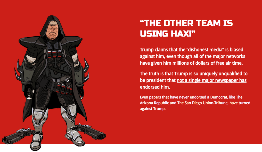 One example draws parallels by portraying Trump as Reaper, a character many Overwatch players hate facing. Credit: Daniel Warren Johnson/The Nuisance Committee