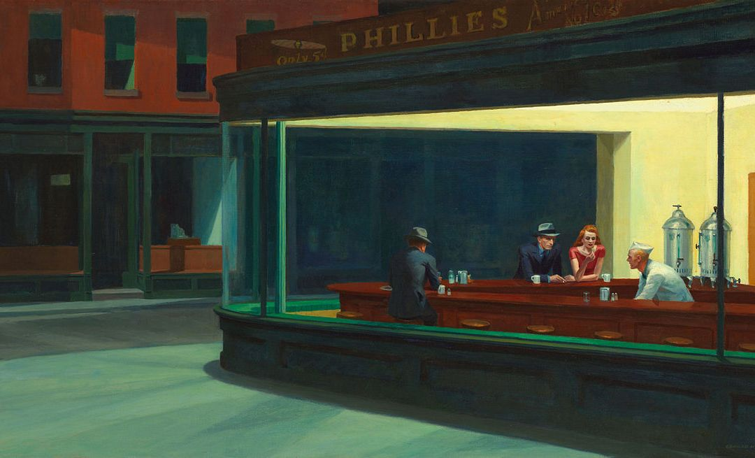 """""""12:34,"""" a poem based off of the painting """"Nighthawks"""""""