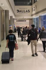DPMHS Media Advisers Adriana Chavira (The Pearl Post and Prestige Yearbook) and Mark Middlebrook (Pearl Net News) leading the way out of Dallas Love Field airport to the hotel the group stayed at during the convention. Photo by Rachel Bullock