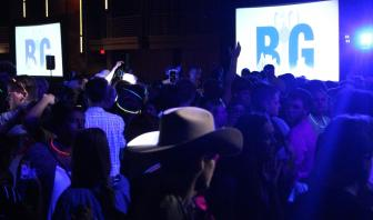 """After the """"Late Night at the Dallas Museum of Art,"""" students made their way back to the Hyatt Regency for a """"Country Meets City"""" dance. The dance included a DJ and lots of glow sticks. Photo by Rachel Bullock"""
