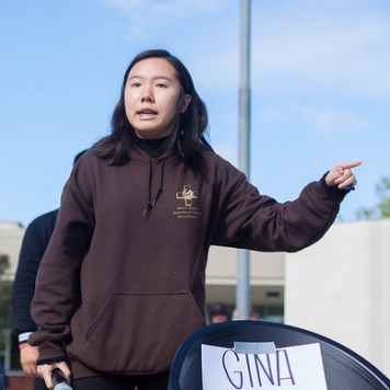 Junior Mindy Nguyen initiated the walkout after student representative Cody Do presented his speech. Photo by Suzane Jlelati.