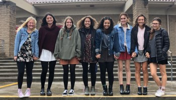 (Left to right: Madeline Schwarz, Kaitlyn Menichetti, Gabby Dunlap, Satouri Robins, Yazzy Roundtree, Lauren Flotman, Sophia Grasso, Ashley Johnson)