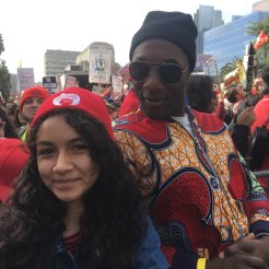 Melissa Diaz, left, with musician Aloe Blacc at the UTLA Rally on Jan. 18. (Photo by Melissa Diaz)