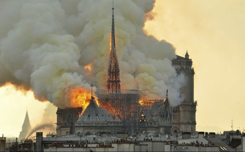 The Notre Dame Cathedral badly damaged by fire
