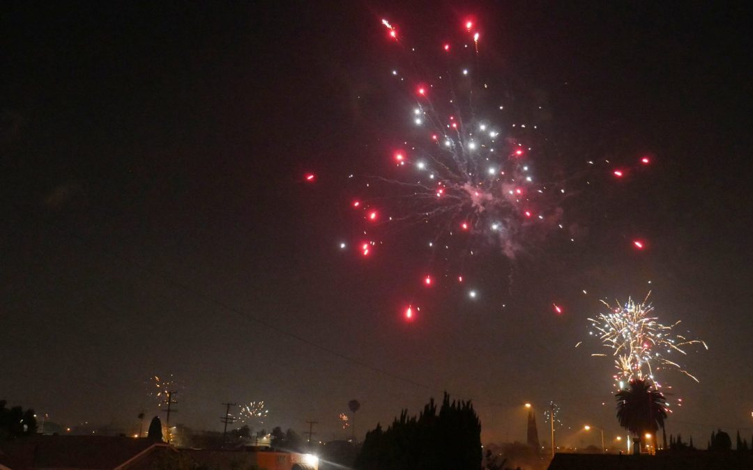 Fireworks light up the sky across Southern California
