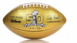 Super Bowl 50 golden footballs