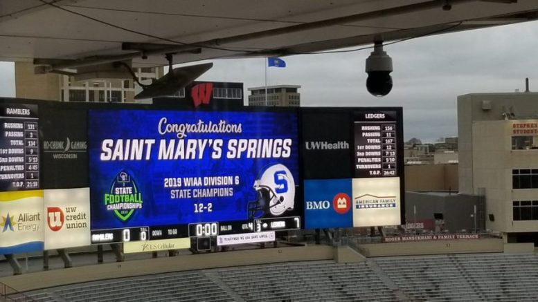 st. mary's springs high school football
