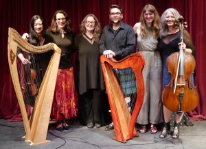 So pleased with our workshops at Island Mountain Arts - this photo of instructors at the Harp Concert in Wells, August 16, 2016: