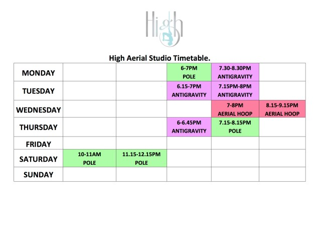 High Aerial Studio Timetable 1
