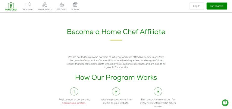 home chef affiliate marketing =