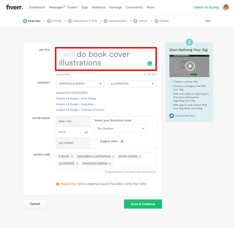 add the seo title to rank your gig on the first page on fiverr