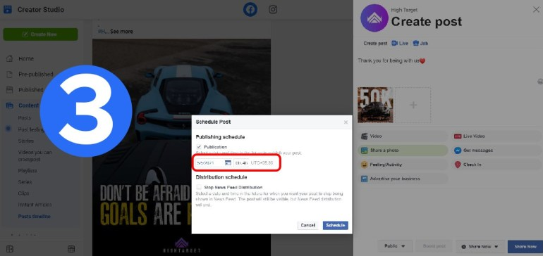 Facebook marketing and schedule posts step by step