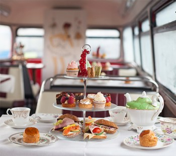 The Afternoon Tea Bus for the launch of UK Afternoon Tea Week