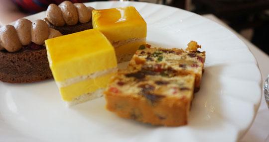 Cake selection at high tea at The Raffles Hotel
