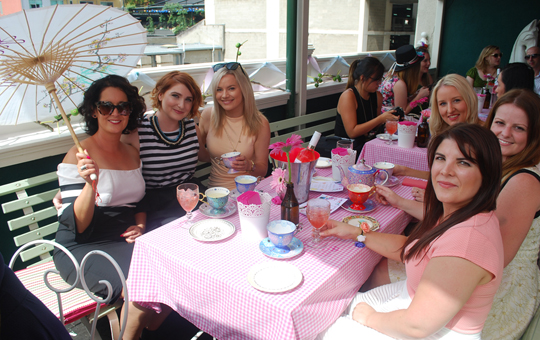 Guests at the Madame Brussels for a Mad Hatter's Marsanne Party