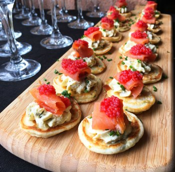 Chive blini with smoked ocean trout recipe