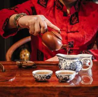 Cambodian banquet and traditional Chinese tea ceremony