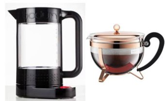 Black Double wall Kettle with Temperature Control & Copper teapot from Bodum