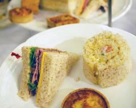 Ribbon sandwich, Pinwheel sandwich and Quiche Lorraine