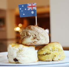 Stanthorpe cider apple and raisin scone, Queensland blue pumpkin scone, Cheese and vegemite scone