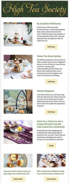 High Tea Society email newsletter