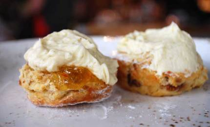 Buttermilk scone with double cream with orange marmalade