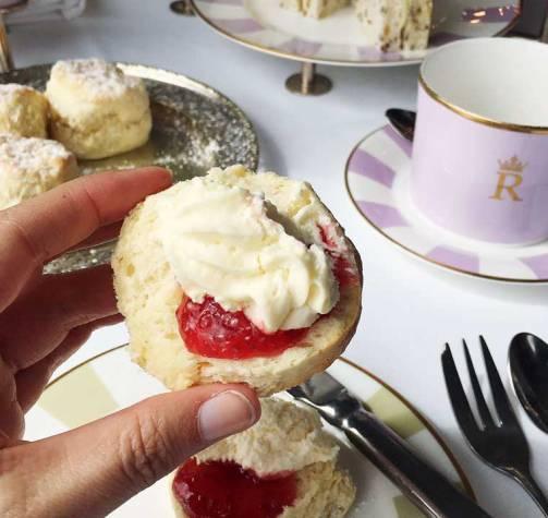 Fresh plain scones with jam & cream