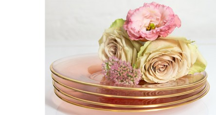 Cristina Re Rose Glass Side plates