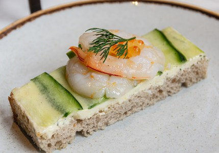 Shark Bay prawn and cucumber on rye bread