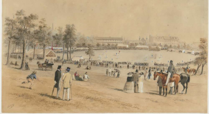 The Domain facing towards Parliament House. Image credit: Samuel Thomas Gill (1818 – 1880), National Library of Australia