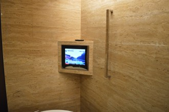 TV in view from the bath. Picture worked, but sound (delivered from overhead speaker) was just static