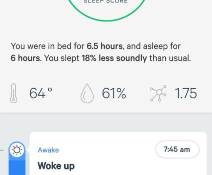 Aplicação do Sense, o monitor de sono da Hello