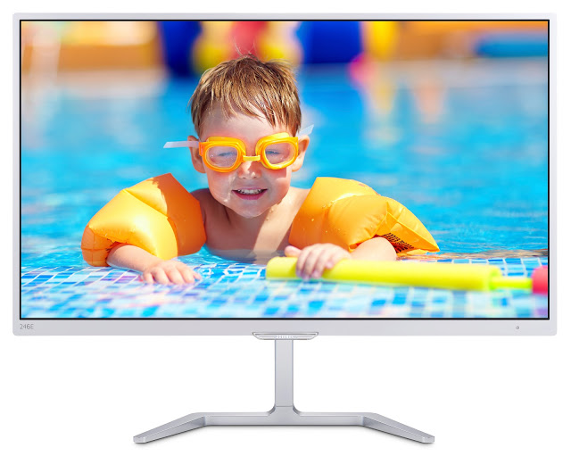 A elegância dos monitores da nova série-E, da Philips. Este é o 246E7QDSW