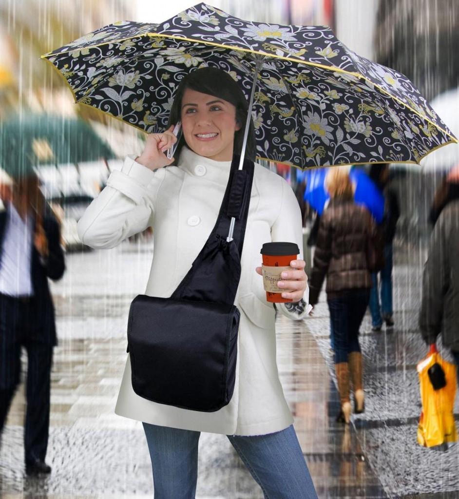 Ajudas preciosas para os dias de chuva. Umbrella Messenger Bag