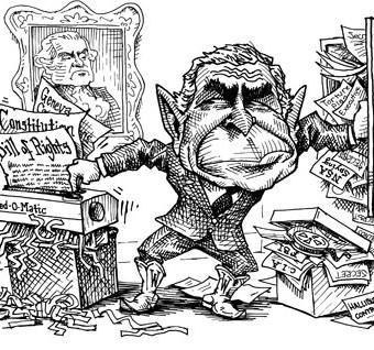 cartoon showing bush trashing government files