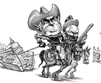 Cartoon showing Bush and Cheney as cowboys
