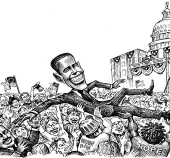 cartoon showing obama crowdsurfing at his election