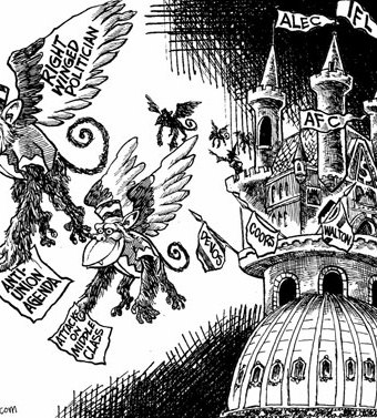 Cartoon showing a politically satirical version of the wicked witch's castle