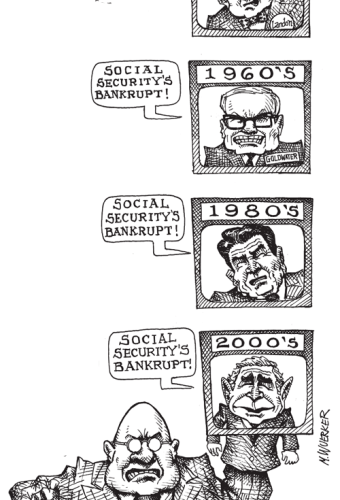 Cartoon showing wall st puppeteering politicians to tell people that social security's bankrupt