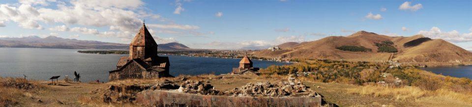 Sevanavank, one of the most beautifully set monasteries. Behind it - the plateau.