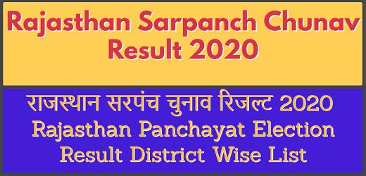 Rajasthan Sarpanch Chunav Result 2020