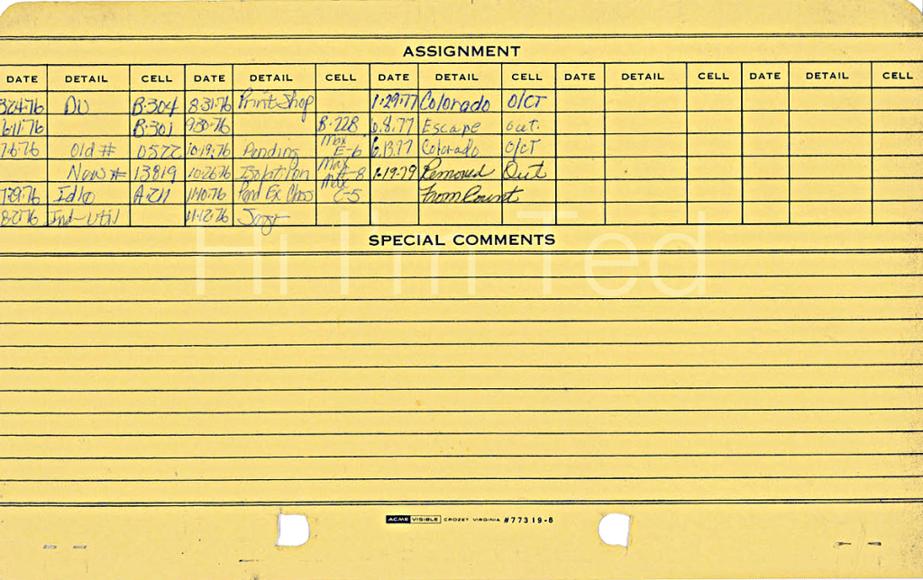 Ted Bundy record card Utah State Prison