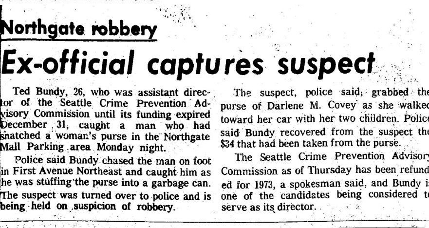 Ted Bundy purse snatching article