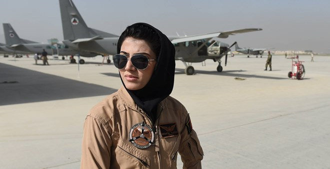 Afghan Air Force Capt. Niloofar Rahmani, shown at a military airfield in the Afghan capital Kabul in April 2015, went to the U.S. in the summer of 2015 for training. PHOTO: AGENCE FRANCE-PRESSE/GETTY IMAGES